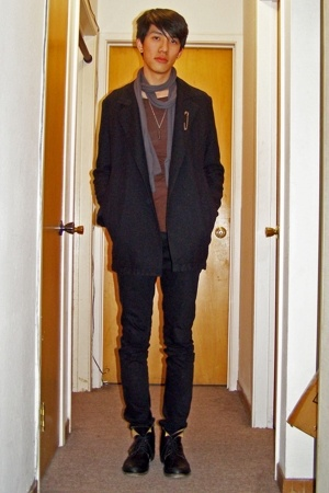 Ys by Limi coat - Rick Owens top - Pudel scarf - Cheap Monday jeans - Fiorentini