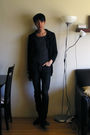 Black-orthodox-cardigan-gray-julius-top-gray-drkshdw-jeans-black-fiorentin