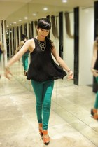 turquoise blue slim fit jeans Gelibean Couture jeans