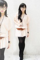 peach peach chiffon Gelibean Couture blouse - black tights Forever 21 tights