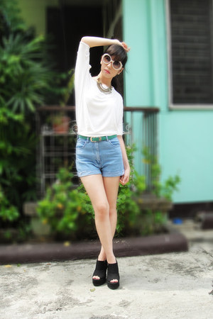 Gelibean Couture shorts - Prada sunglasses - Gelibean Couture wedges