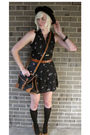 Black-dress-brown-belt-black-bag-brown-steve-madden-shoes-black-hat