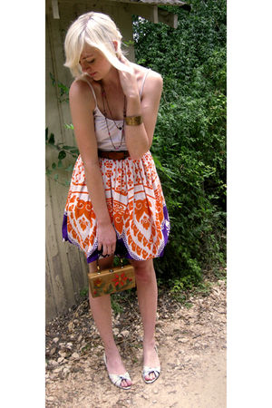 orange Grandmothers skirt - white Forever 21 top - white shoes - brown moms bag