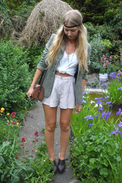 green Harrods jacket - purple Topshop shorts - white Topshop vest - brown thrift