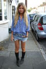 Blue-thifted-shirt-blue-thrifted-shorts-black-topshop-boots