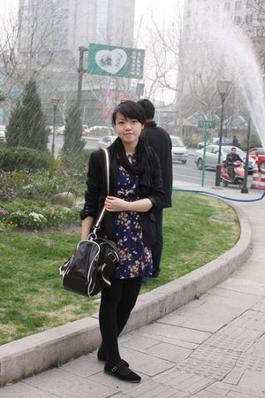 black H&M blazer - blue vintage dress - black vintage shoes