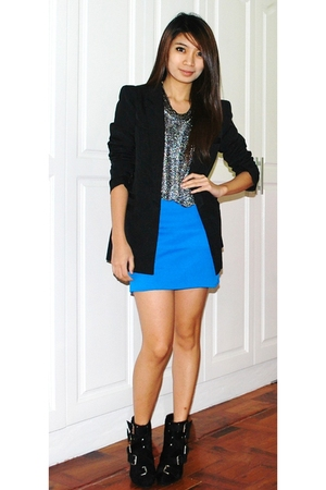 blue Pink Manila skirt - black insidegiannesclosetmultiplycom blazer - silver So