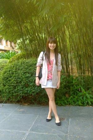 pink Topshop blazer - pink Bayo top - silver a&f skirt - black shoes - black