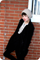 black wilfred coat - black BDG pants - black H&M shirt - white Urban Outfitters