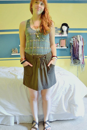 blue tank top Target top - brown comfortable shirt - dark brown Chaco sandals