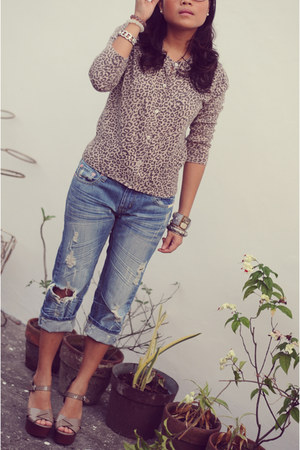 jelly bean jeans - Plains and Prints cardigan - primadona wedges