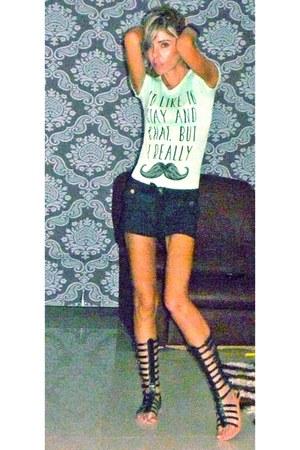 mustache Zara shirt - shorts - gladiators Urban Outfitters sandals