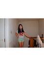 Carrot-orange-forever-21-shirt-aquamarine-cotton-forever-21-shorts-pink-skin