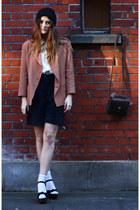 tan blazer Karl Lagerfeld jacket - off white silk Topshop shirt - dark brown sat