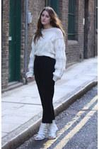 white white knit Stephan Schneider sweater - black Jil Sander pants - white buck