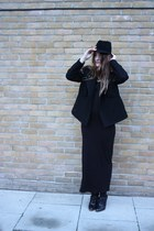 jaeger hat - Limi Feu coat - Topshop dress - Helmut Lang top - Alexander Wang sh