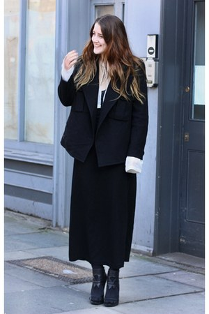 black boiled wool Limi Feu jacket - white silk chiffon ann demeulemeester top -