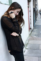 tawny silk Topshop shirt - black knuckleduster Alexander McQueen ring - black lo