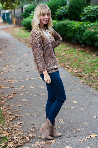 Nine West boots - AG jeans - Aritzia sweater - Anthropologie necklace