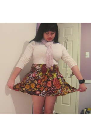brown thrifted skirt - white joe fresh style shirt - beige thrifted scarf - blac