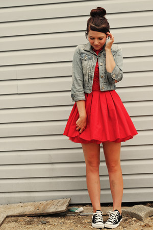 light blue new look jacket - red Jones and Jones dress - black Converse sneakers