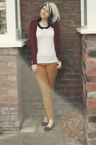 mustard select jeans - ivory H&M top - crimson Primark cardigan