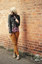 mustard select jeans - black H&M jacket - red new look shirt