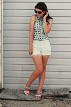aquamarine H&M shorts - aquamarine Primark shirt - light yellow next sandals