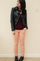 peach Republic pants - black new look boots - black H&M jacket