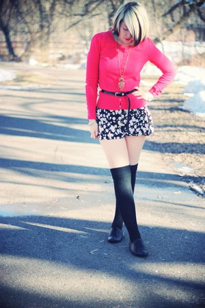 black Target shoes - black Primark romper - red red herring cardigan