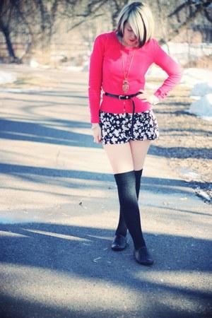 black Target shoes - black Primark romper - red red herring cardigan