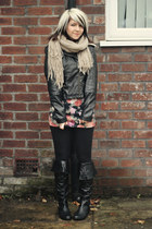 black London Rebel boots - purple Miso dress - black River Island jacket