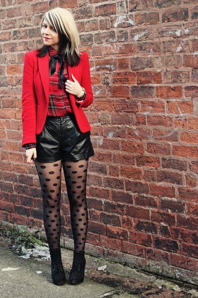 red Motel blouse - red Zara blazer - black Very shorts - black new look wedges