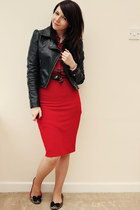 red OMG Fashion skirt - black H&M jacket - red Motel shirt - tan Matalan flats