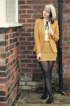 mustard Zara blazer - ivory shirt - mustard Boohoo skirt - black H&M flats