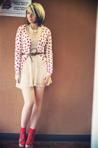 off white Topshop dress - brown Blowfish heels - white Forever 21 cardigan