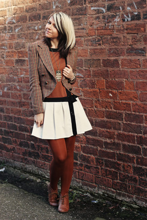 light brown Primark jacket - bronze new look boots - tawny Matalan dress