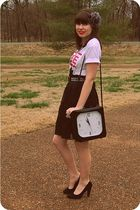 white muse t-shirt - black Old Navy skirt - black Nine West shoes - black Target