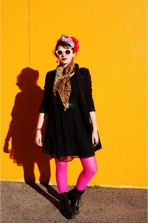 hot pink neon unknown tights - black combat boots Dolce Vita boots