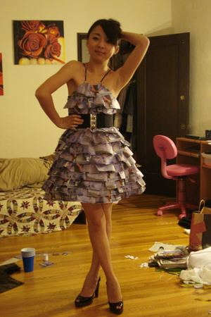 Dress Made Out of Newpaper Cutouts