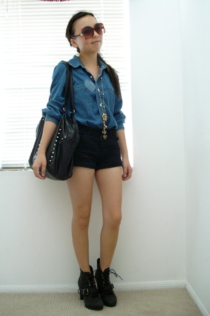 UO shirt - seychelles boots - Zara purse - f21 accessories