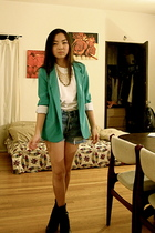 f21 accessories - UO blazer - UO shorts - white Hanes t-shirt