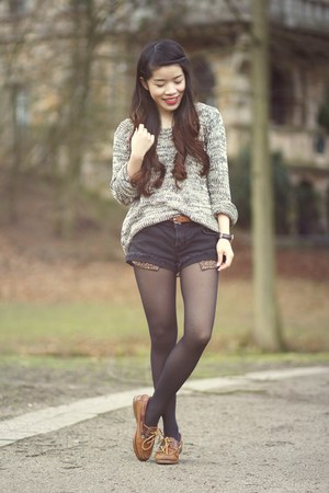 heather gray wool PERSUNMALL sweater - black jeans Primark shorts