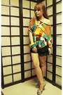 Black-chiffon-house-of-cortez-shorts-light-orange-chiffon-random-top