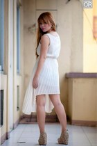 white unusual hem Vaintage dress - off white snakeskin random wedges