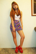deep purple designed by me skirt - white babydoll Redhead blouse