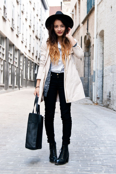 OASAP hat - leather River Island boots - H&M jeans - H&M jacket - pieces bag