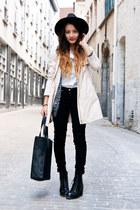 OASAP hat - leather River Island boots - H&M jeans - H&M jacket - pieces bag
