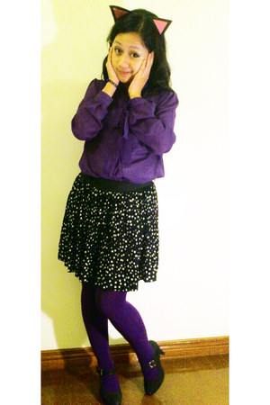 purple knitted Kate Torralba tights - deep purple sheer blazer