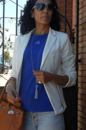 amethyst Mizuno shoes - white asos blazer - navy Adidas shirt